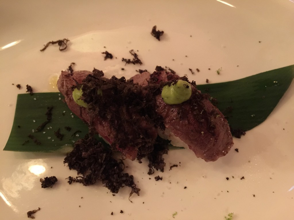 Kobe beef nigiri with black truffle