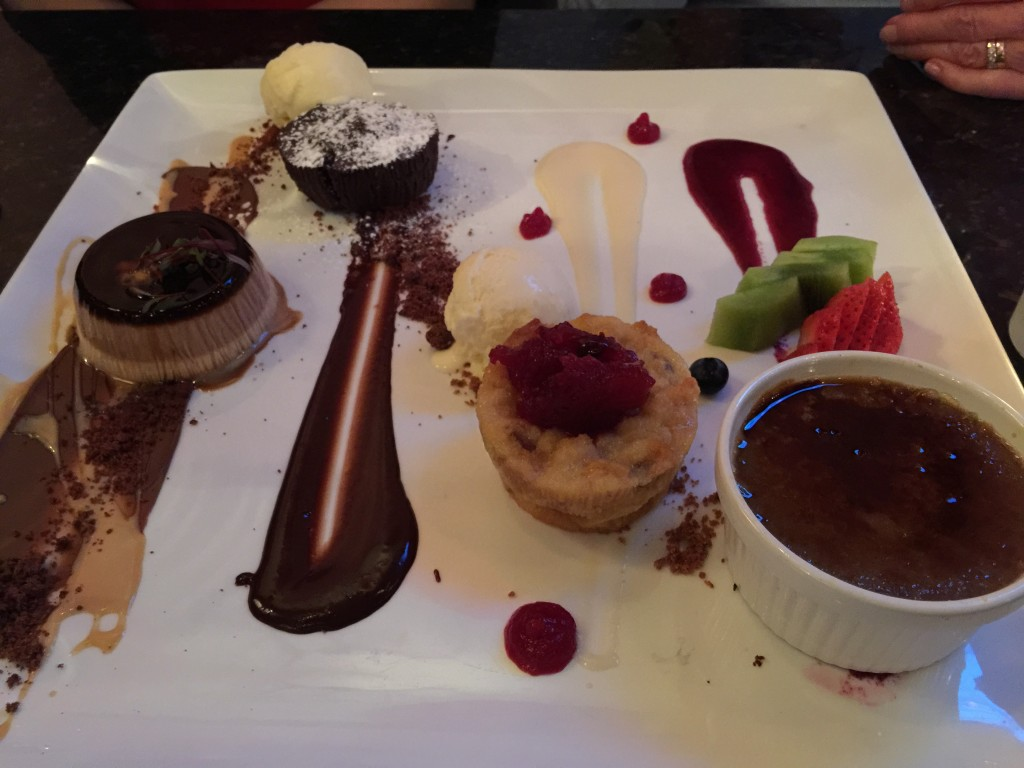 Three layer flan, molten chocolate cake, bread pudding, cappuccino creme brûlée