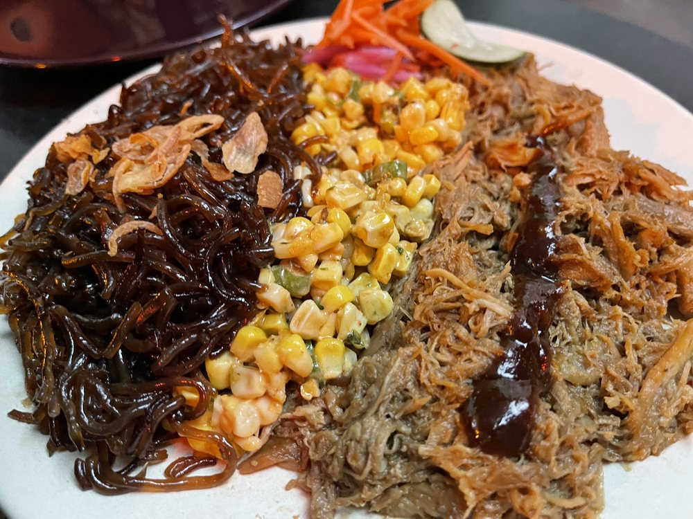 Duck with hoisin, corn with shishito peppers, japchae noodles