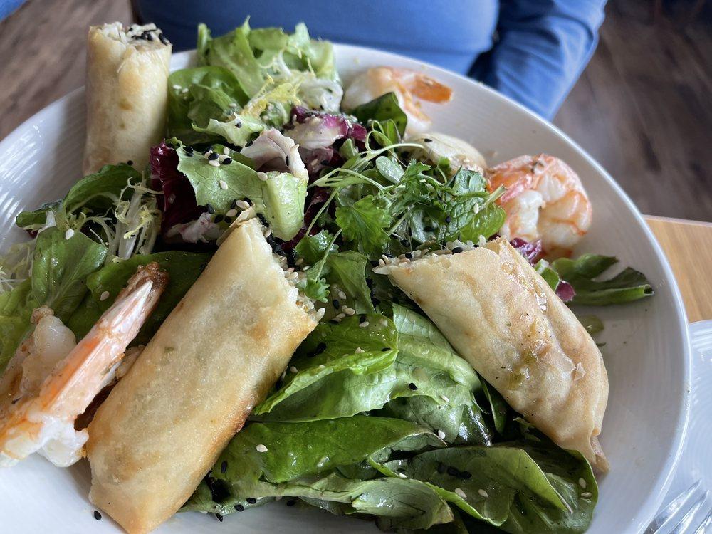 Vietnamese spring roll and shrimp salad