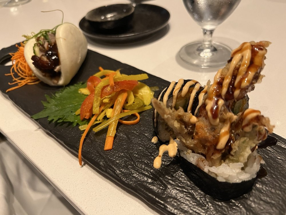 Trio of bao with Peking duck, pickled veggies, spider roll